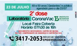 Prefeitura vai realizar segunda dose da vacinação no dia 23 de julho