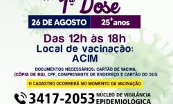 Secretaria de Saúde convoca público com 25 anos para vacinação contra a Covid-19