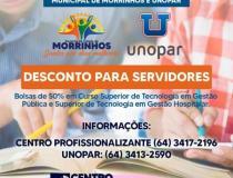 Prefeitura e Unopar fecham parceria com desconto de 50% nos cursos de Tecnologia em Gestão Pública e Gestão Hospitalar