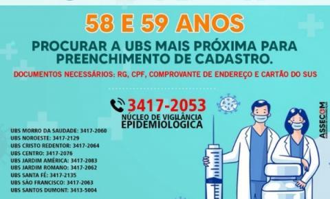 Secretaria de Saúde convoca pessoas de 58 e 59 anos para cadastro da vacinação contra a Covid-19