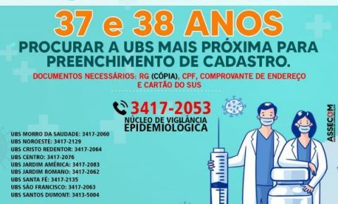 Prefeitura de Morrinhos convoca pessoas de 37 e 38 anos para cadastro
