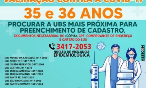 Prefeitura de Morrinhos abre cadastramento de vacinação para público de 35 e 36 anos