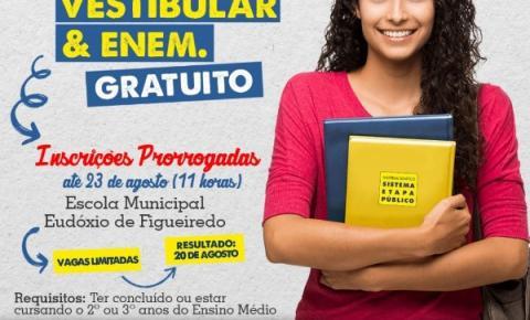 Prefeitura prorroga prazo das inscrições para o Cursinho Pré-Vestibular